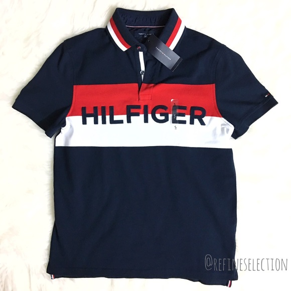 308610fc Tommy Hilfiger Shirts | Spell Out Flag Logo Mens Polo | Poshmark